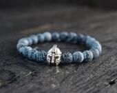 Crackled black agate beaded spartan helmet stretchy bracelet made to order yoga bracelet, wrap bracelet, mens bracelet, womens bracelet
