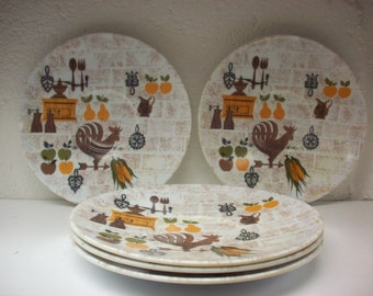 5 MELAMINE MOD ROOSTER Saucers Mid Century Colonial Kitchen Fall Colors Melmac