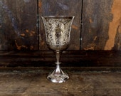 Vintage etched floral silver plated wine goblet/silver drinking stemware cup