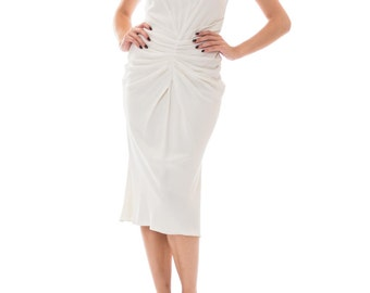 1990s Christian Dior By John Galliano White Dress Size: XS-S