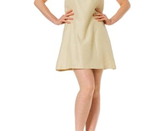 1960s Mod Floral Embroidered Detail Sleveless Mini Dress SIZE: S, 4
