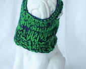 EXTRA SMALL Basic Two-Tone Navy & Green w/ Ribbed Collar/Ear Holes