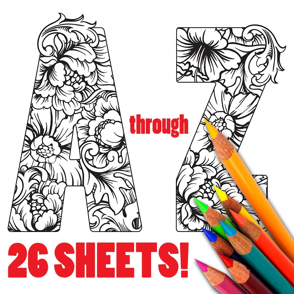 This is a photo of Dashing Free Printable Alphabet Coloring Pages for Adults