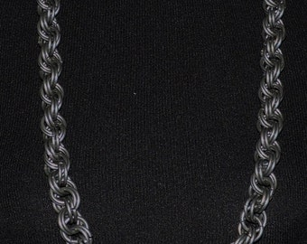 "38"" Mens Chainmail Necklace  8 in 2 Spiral weave Large heavy rings"
