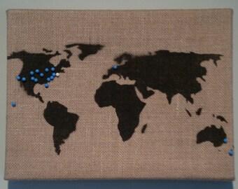 Map of the World painting - stencil on framed burlap - stencil graffiti art