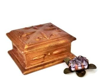 Gold Gilt Trinket Box, Cigarette Box by Anthony Freeman McFarlin California Pottery USA, Gold/Green Mid Century Hollywood Regency Decor