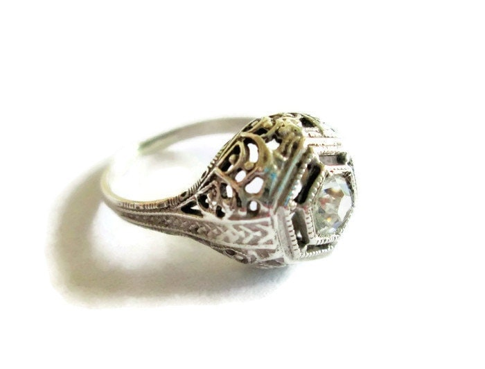 deco engagement ring sterling silver filigree setting