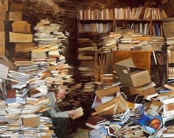 The bookshop, oil on canvas Giclée print