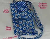 Cell Phone Wallet, Cross Body / Blue with Flowers, Cell Phone Wallet / Ready to ship