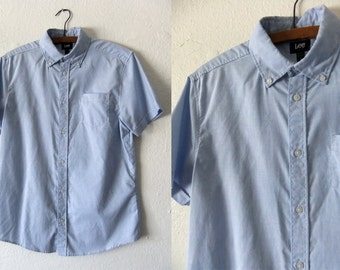 Lee Vintage Oxford Shirt - Preppy Style 80s Minimal Short Sleeve Button Down - Mens Small