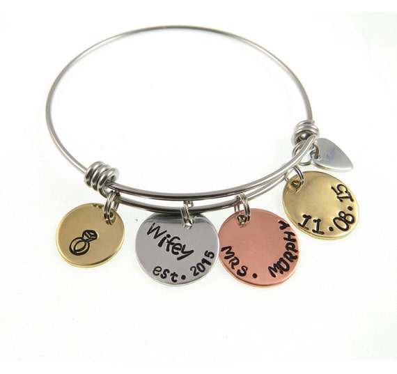 Wedding Day Gift Jewelry : Hand Stamped JewelryWedding Day GiftHand Stamped Bracelet Bangle ...
