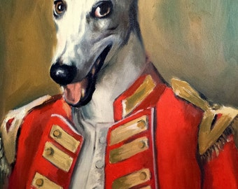 Original Oil Painting Dog In Navy Military Uniform - Pet Portrait - Canvas Painting - Dog Aristocrat - Greyhound Painting - Dog In Clothes