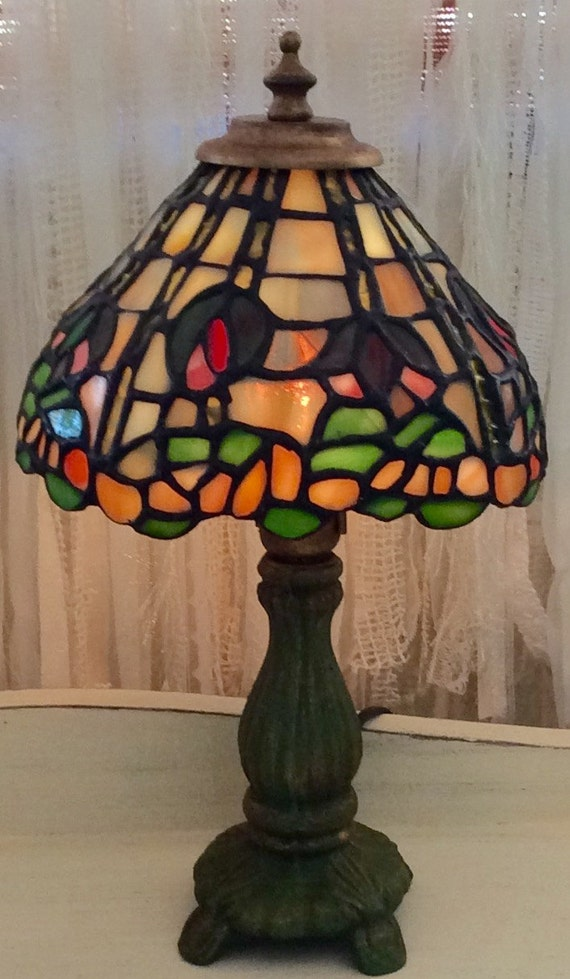 1980 S Stained Glass Lamp : Stained glass lamp tiffany style vintage s