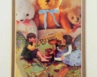 Vintage Fairies and Teddy Bears Print Framed