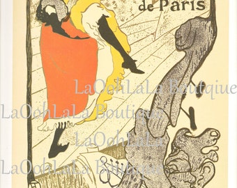 1893 Jane Avril au Jardin de Paris & 1891 Moulin Rouge La Goulue Henri de Toulouse Lautrec Vintage 1971 French Art Nouveau Lithograph Print