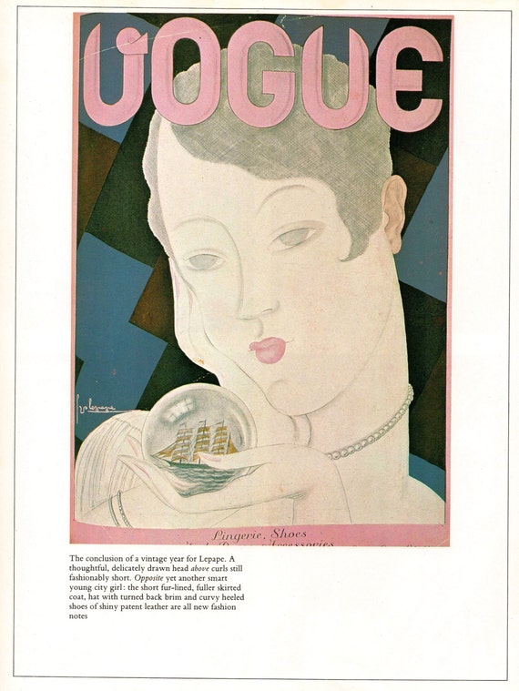 1928 Vogue Flapper Fortune Teller Cover Vintage 1980 Lepape