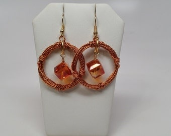 Copper Twisted Wire Wreath Earrings - Cube, Crystal, Circle, Hoop, Fall, Autumn, Wire Wrapped, Red, Gold, Orange