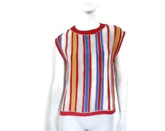 Oscar De La Renta Silk Blouse Nan Duskin Boutique Mod Stripes sz6 Made in the USA