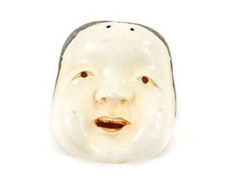 Miniature Face Mask or Chinese Doll Face Hand Carved Celluloid Signed MMA