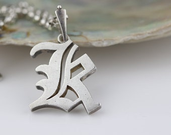 Sterling Silver Letter Initial K Monogram Pendant on 925 Silver Chain Necklace