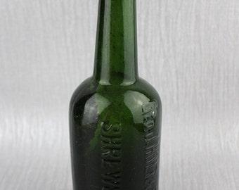 Vintage Geo J Holt & Sons Ltd Green Glass Water Bottle