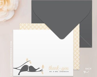 Love Birds Stationery, Note Card, Thank You Card with Envelope - Customize with Name or Monogram