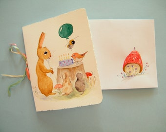 Fifth Birthday Card,  whimsical rabbit greetings card,  hand painted watercolor card,  original fine art,  card for 5 year old
