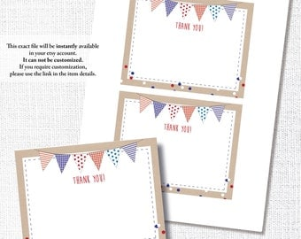 RED WHITE BLUE thank you note card 2nd 1st birthday patriotic 4th of July fourth bunting flag diy printable digital file instant download
