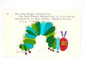 The Very Hungry Caterpillar Library Card Art - Print of my painting on library card catalog card