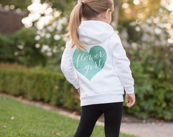 Flower Girl Hoodie, Flower Girl Gift, Jr. Bridesmaid, Bridal Party Gifts, Wedding Day Apparel, Bridesmaid Gifts, Flower Girl Sweatshirt