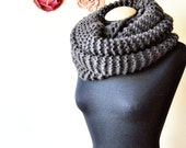 large hand knit chunky infinity scarf/shawl in brown soft wool, very long, warm and elegant, for men and women, classic