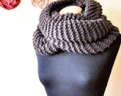 oversized chunky brown wool knit infinity  scarf, shawl, wrap, handmade one of a kind gift idea for men and women, girls,