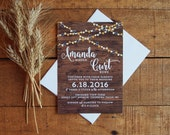 Wedding Invitation, Wedding Invitation Set, Woodgrain Wedding Invitation, Fall Wedding Invitation, Rustic Wedding, String Lights