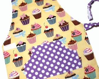CUPCAKES Montessori Toddler/Child Apron made to order yellow