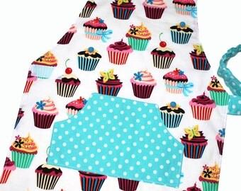 CUPCAKES Montessori Toddler/Child Apron white made to order