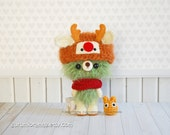 amigurumi kawaii bear in reindeer hat, crochet olive green fuzzy stuffed plush petite bear, golden chibi totoro