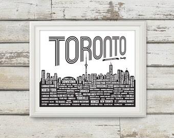 Toronto, Toronto Neighbourhoods, Toronto Skyline, Toronto Canada, Maple Leaf, Toronto Art, Toronto Print, Toronto Poster, Toronto Typography