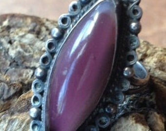 Vintage Plata 0925 Guad-Mex Signed Sterling Silver & Sugalite Ring