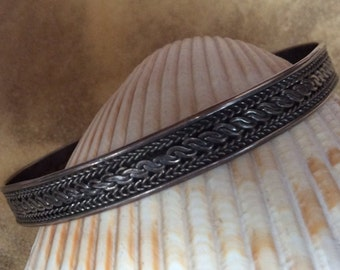 Vintage Native American Twisted Rope Design Sterling Silver Cuff Bracelet