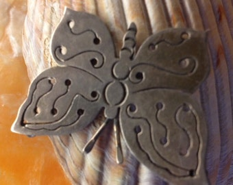 SALE - Vintage Sterling Silver Butterly Brooch Pin - Marked 925