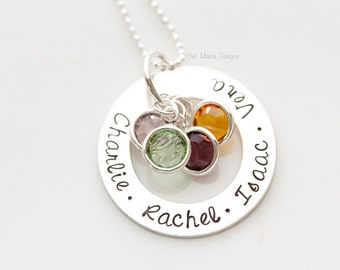 Sterling Silver Birthstone Washer Necklace with Swarovski Crystal Birthstones for Mother, Grandmother Necklace, Family Necklace, Mothers Day