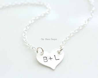 Sterling Silver Heart Necklace, Initial Necklace, Name Necklace, Valentines Day Necklace, Gift for Her, Heart Love Necklace, Handstamped