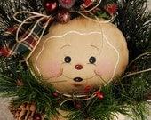 Whimsical Gingerbread Man, Gingerbread Man, Gingerbread in Vintage Sifter, Primitive Gingerbread