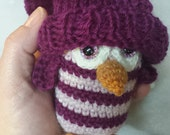 Miniature owl with pompom hat - Princess - Pink and Fairy Tale stripes, BJD, MSD doll toy