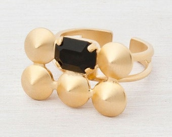 Crystal gold ring- 24K gold plated adjustable ring.