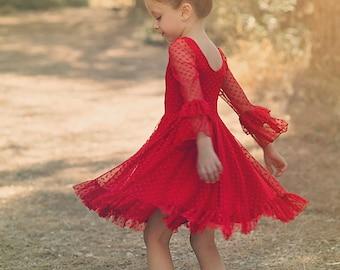 Girls Red Lace Christmas Dress, Twirly Christmas Dress, Holiday Dress, Christmas Party Dress