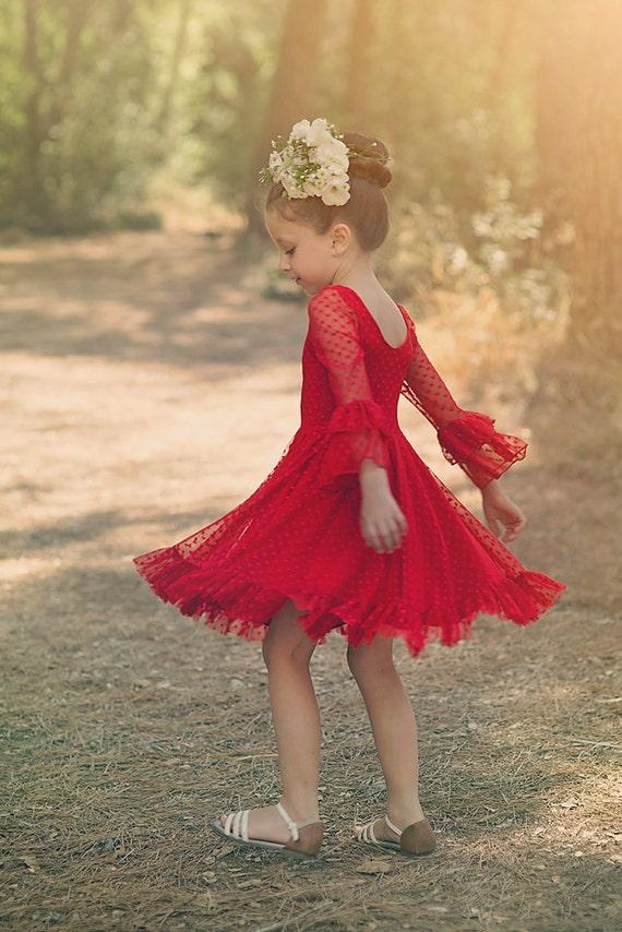 Girls Red Lace Christmas Dress Twirly Christmas Dress