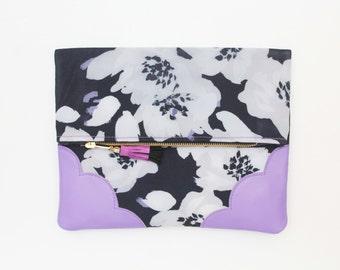Reserved for Hane / FLOWERET 35 /Flower clutch purse - leather bag - folded nature inspired purse- tassel pull bag-purple violet