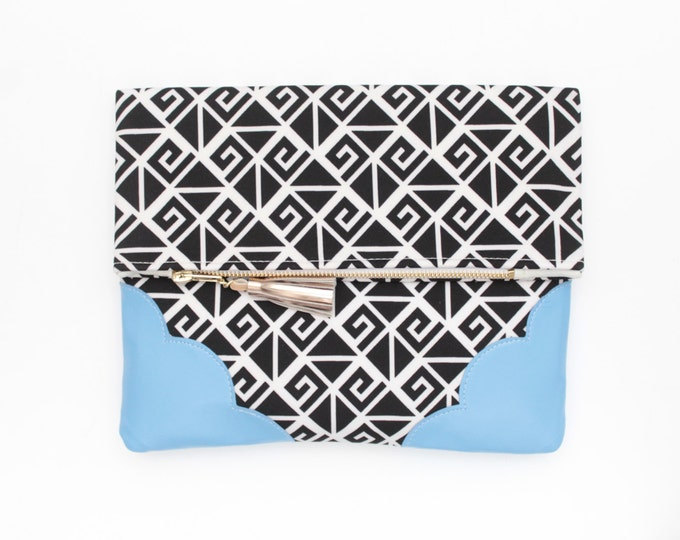 Graphic cotton clutch bag. Fold over clutch. Leather handbag. Monochrome print. Blue natural leather. Black and white handbag. /GRAPHIC 137