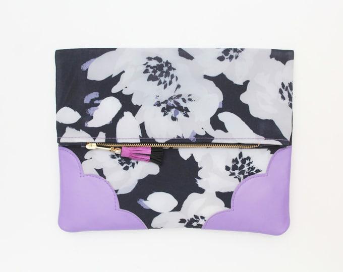 SALE /FLOWERET 35 /Flower clutch purse - leather bag - folded nature inspired purse- tassel pull bag-purple violet black white bag